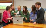 """Pupils from St John's NS working on their """"Engineering-in-a-Box Boat Building Challenge"""" with Abbott engineers (on right)  Dr. Alice D'Arcy of STEAM. Picture - Shelley Corcoran"""