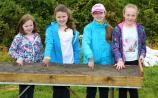 Grainne McKenna, Niamh Corrigan, Caoimhe Donnelly, Maria McKenna playing Find the 50 Photo by Shelley Corcoran