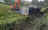 Truck overturned on the R198 near Arvagh