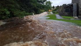 WATCH | Dramatic footage of banks bursting at Mill river in Drumlish as Longford suffers severe flooding
