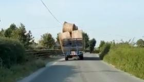 WATCH: Dangerous load falling off tractor caught on video by Gardaí