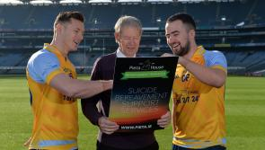 Dublin All-Ireland winner Paul Flynn helps launch Pieta House suicide bereavement services brochure at Croke Park