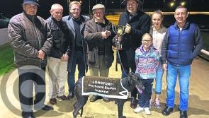 Urban Jet wins the Jim Valentine Memorial Stake at Longford Greyhound Stadium