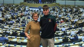 MEP Mairead McGuinness welcomes Longford  student Colm Gilchrist to Brussels