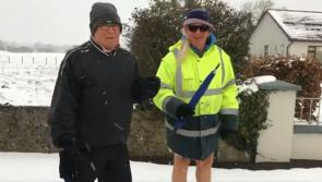 Video: Ballymahon man goes for a stroll in the snow... wearing shorts!