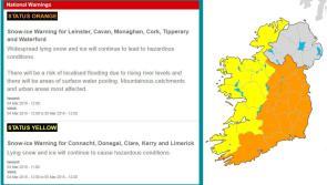 Longford Weather Update: Met Éireann issues new Status Orange warning until 12 noon tomorrow