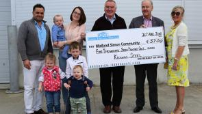 Staff of Longford company Kiernan Structural Steel Limited raise €5,700 for Midlands Simon Community