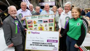 Public vote winners Killoe Men's Shed scrum it down with rugby legend Donncha O'Callaghan