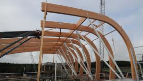 Center Parcs Longford Forest Subtropical Swimming Paradise takes shape as 53 metre long beams arrive