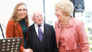 Ballymahon musician Katie Gallagher performs for President Michael D. Higgins at special opening of DCU facility