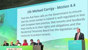 Longford general election candidate Micheal Carrigy addresses Fine Gael Árd Fheis