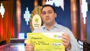Longford law graduate James Skelly spins the Winning Streak wheel and wins €63,000