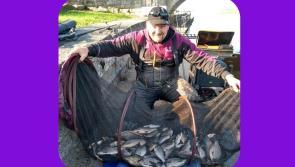 Gone fishing! Longford fisherman Andy Burnett lands an impressive Easter Monday haul on Lanesboro's famous hot water stretch