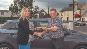 Lucky winner of the Lanesboro Ballyleague Credit Union draw presented with new car
