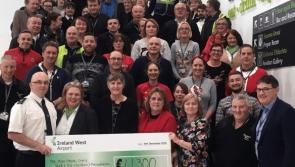 Ireland West Airport staff present a cheque for €41,395 to three charities