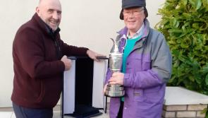 Longford GAA supporter Jackie McDonnell and the Claret Jug