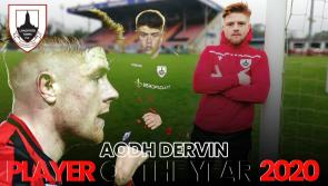 WATCH   Aodh Dervin proud to be selected as Longford Town Player of the Year 2020