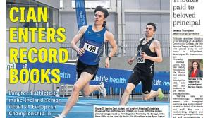 Record breaking exploits of athlete Cian McPhillips raise Longford spirits
