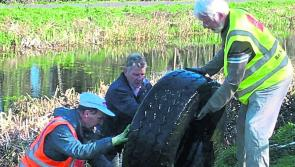 Longford Tidy Towns volunteers remove 'whopper' of a tyre and shopping trolleys from Royal Canal
