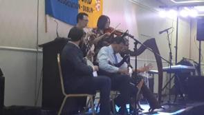 WATCH: Lanesboro's Pádraig Donlon plays uilleann pipes during 64th Longford Association in Dublin gala awards