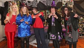 Ballymahon Mercy at their photography exhibition as part of Fright Fest, Shelley Corcoran, Zoe Guinane, Meghan Finnan, Ann Gerety Smyth, Annette Corkery Photo by Shelley Corcoran;