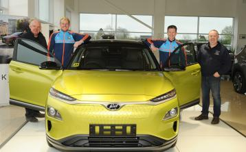 John Nally, Paddy Collum, Michael Quinn and Robin Nally at the Longford GAA Race Day launch in Nally Bros Hyundai Garage in Ballymahon PICTURE DECLAN GILMORE