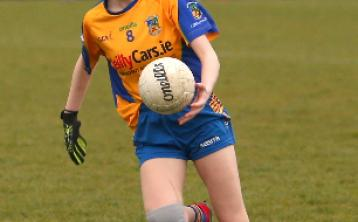 Ella O'Reilly pictured in action for the Longford Ladies football U-14 team. Photo: Syl Healy