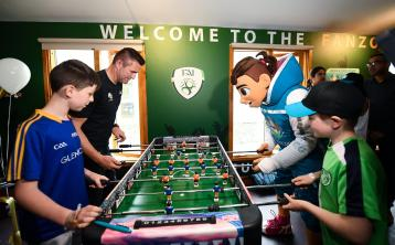 GALLERY | Longford youngster pits his wits against Irish legend Robbie Keane in a game of table football