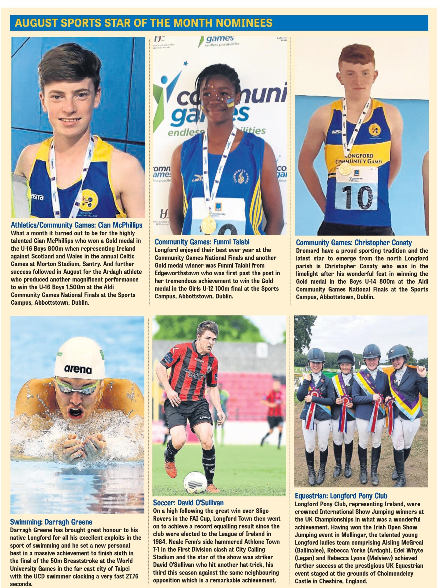 Get Voting Ganly S Longford Sports Star Of The Month