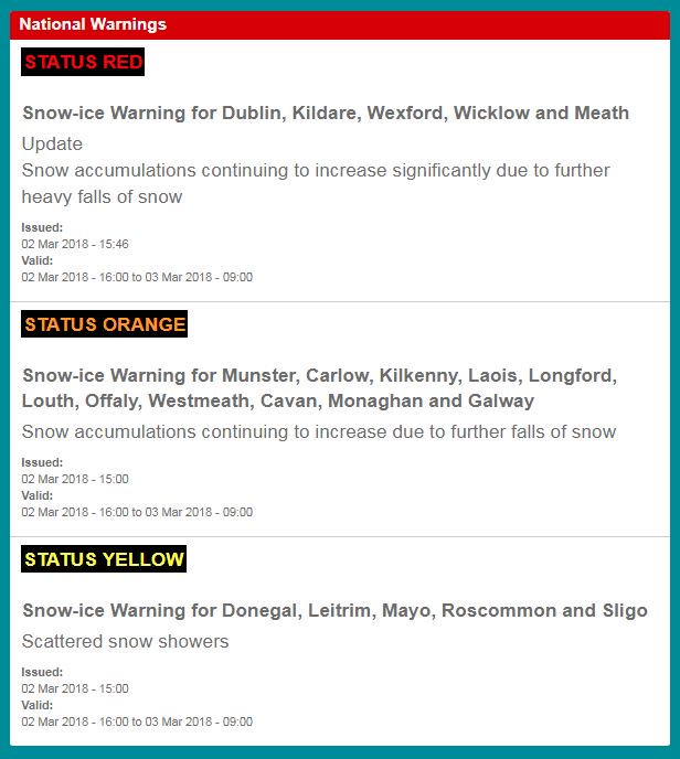 Status orange and yellow weather warnings issued for Ireland