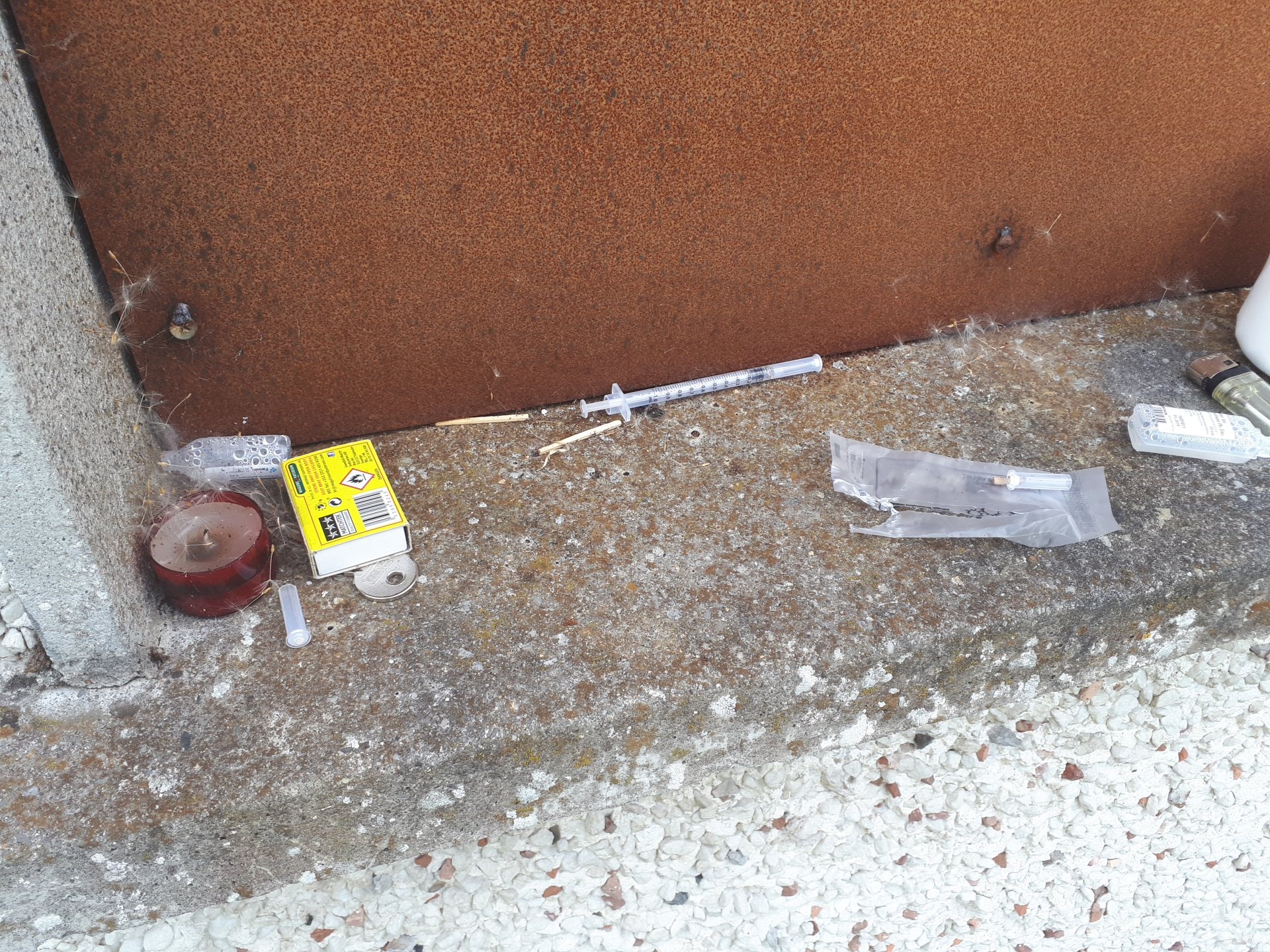 Evidence of drug taking at the back of a vacant house in Grian Ard, Ardnacassa