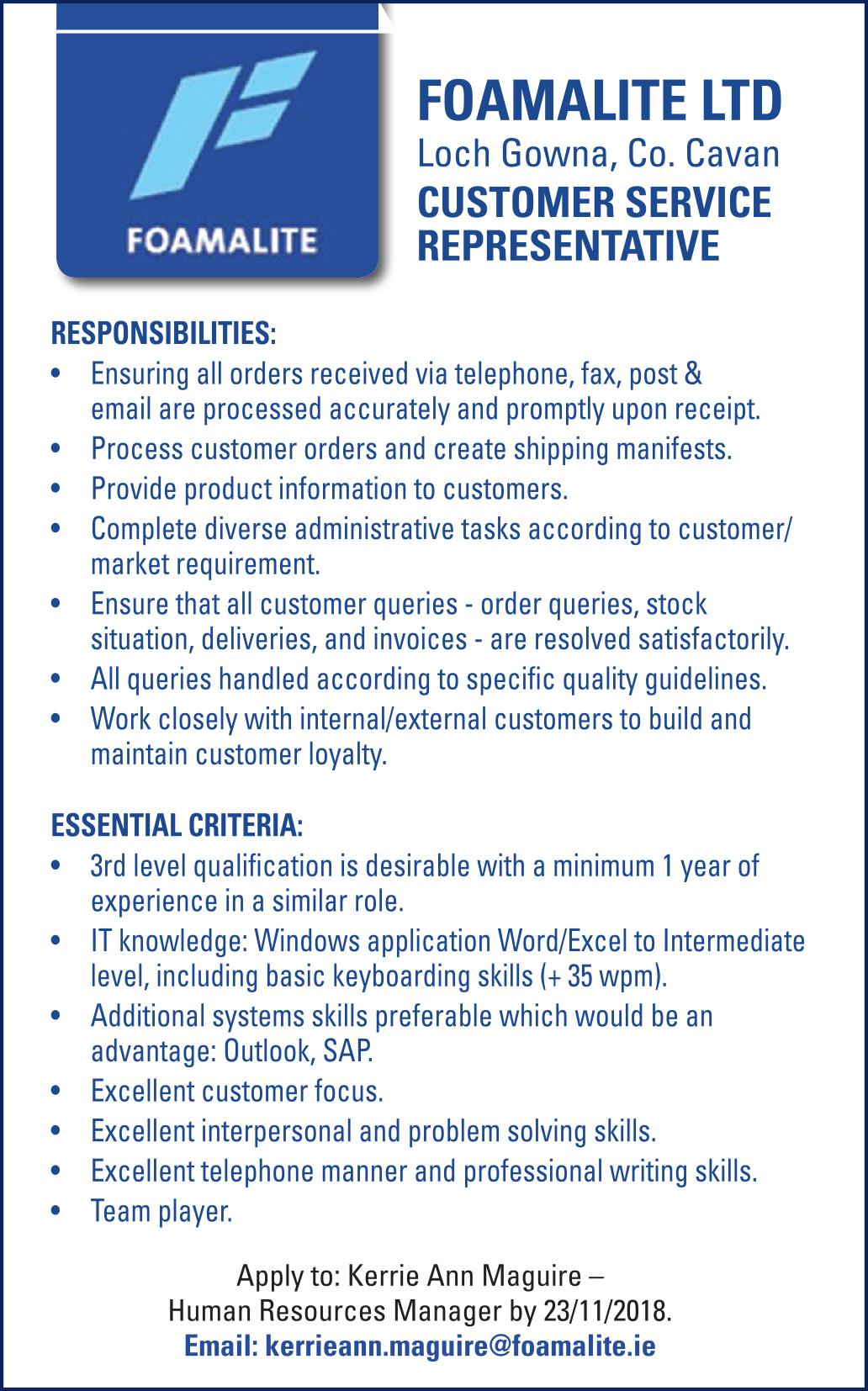 qualifications for a customer service representative