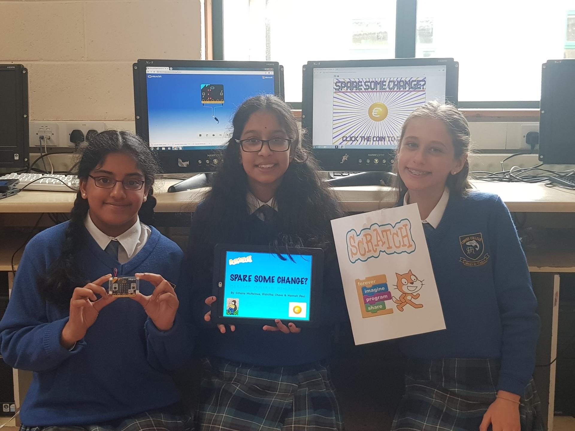 Hannah Paul, Rishitha Chava, Simona McAvinue. All 1st year students from Confey College Leixlip