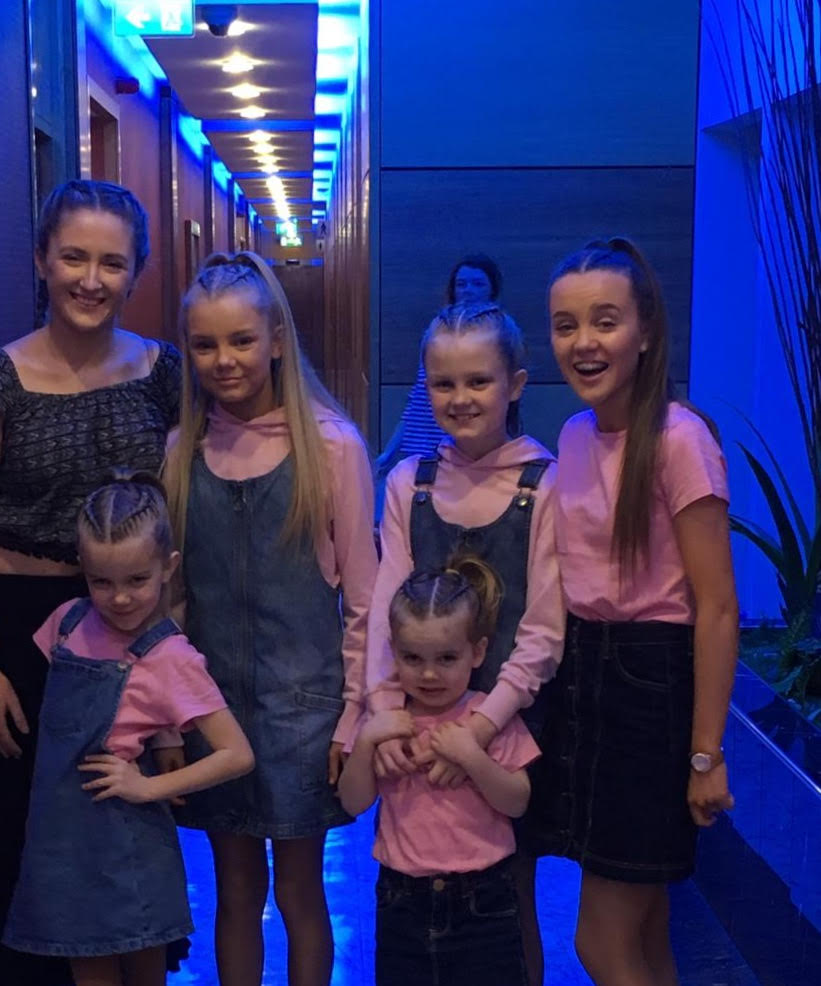 The Kaye sisters with singing teacher Katie Conlan from KNC Performing Arts Newbridge at their audition