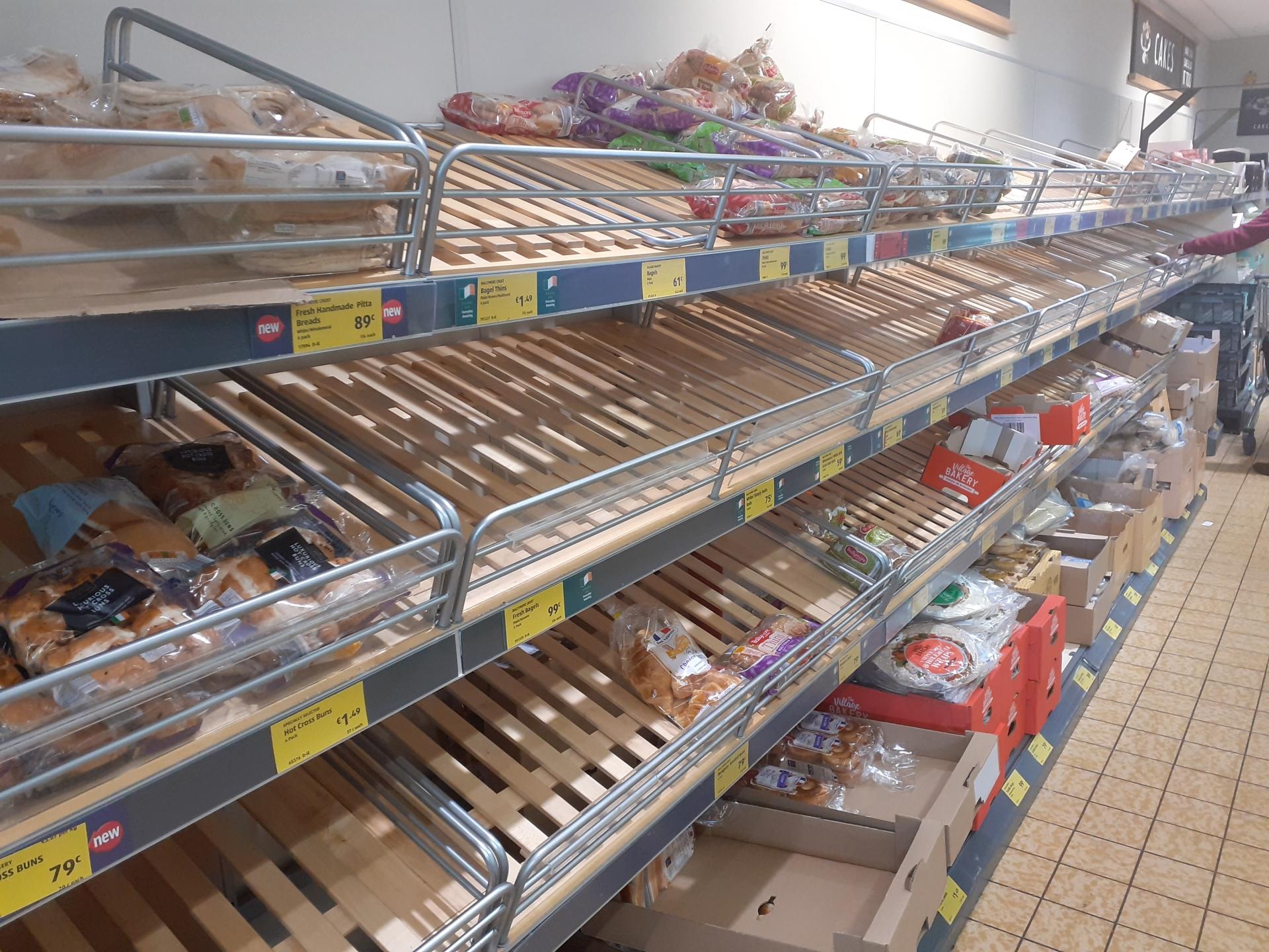 Bread isle in Aldi is left bare