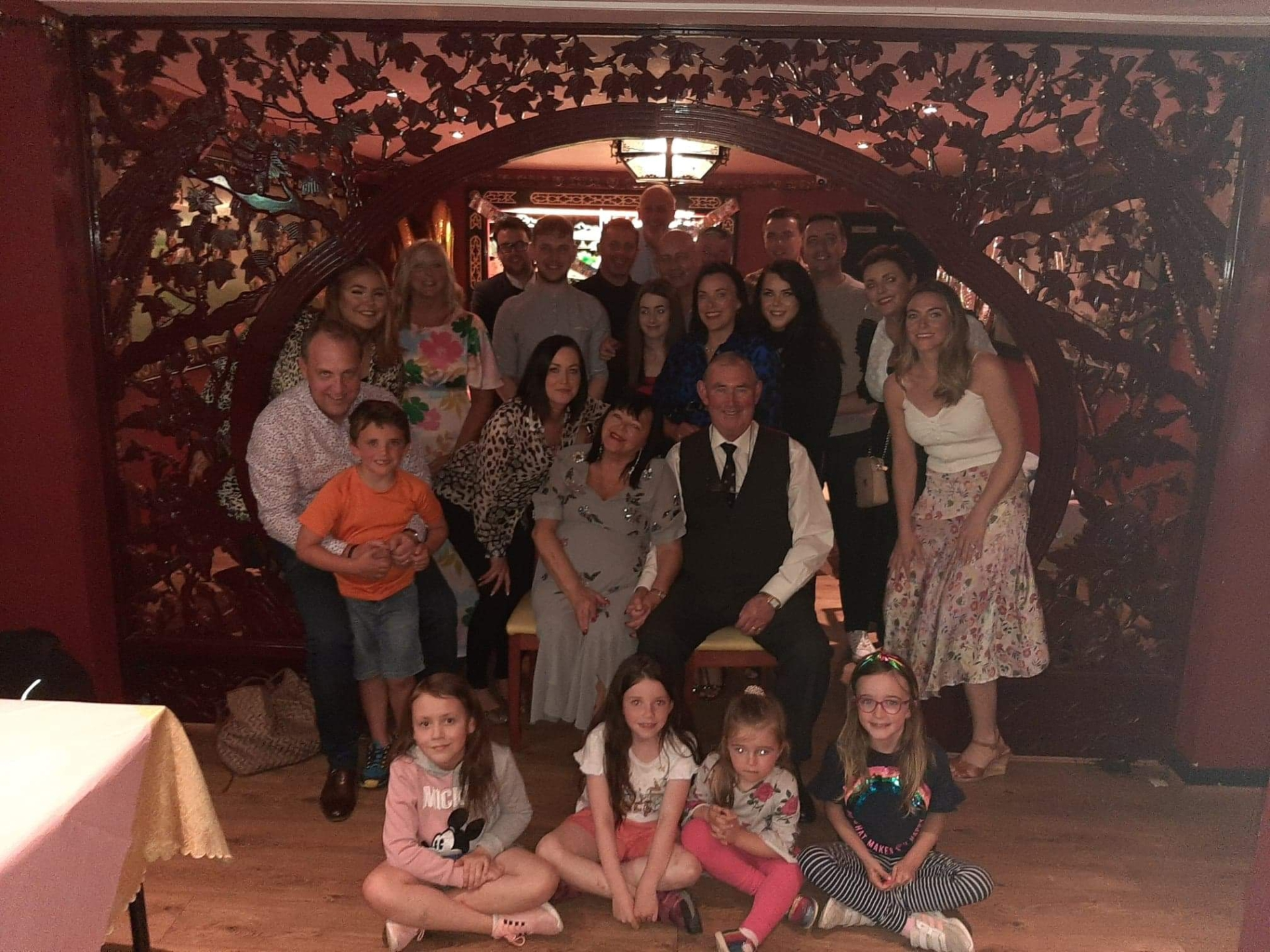 Laura Gilmore Anderson with members of her family at her sister's 40th birthday at Longford's Viewmount House last July and just two months after receiving news of her diagnosis