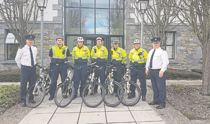 Superintendent Jim Delaney with mountain bike patrol officers and Chief Supt Tony Healy in what was one of a number of measures introduced by the garda boss to underpin community engagement and  high visibility policing on the streets of Longford town