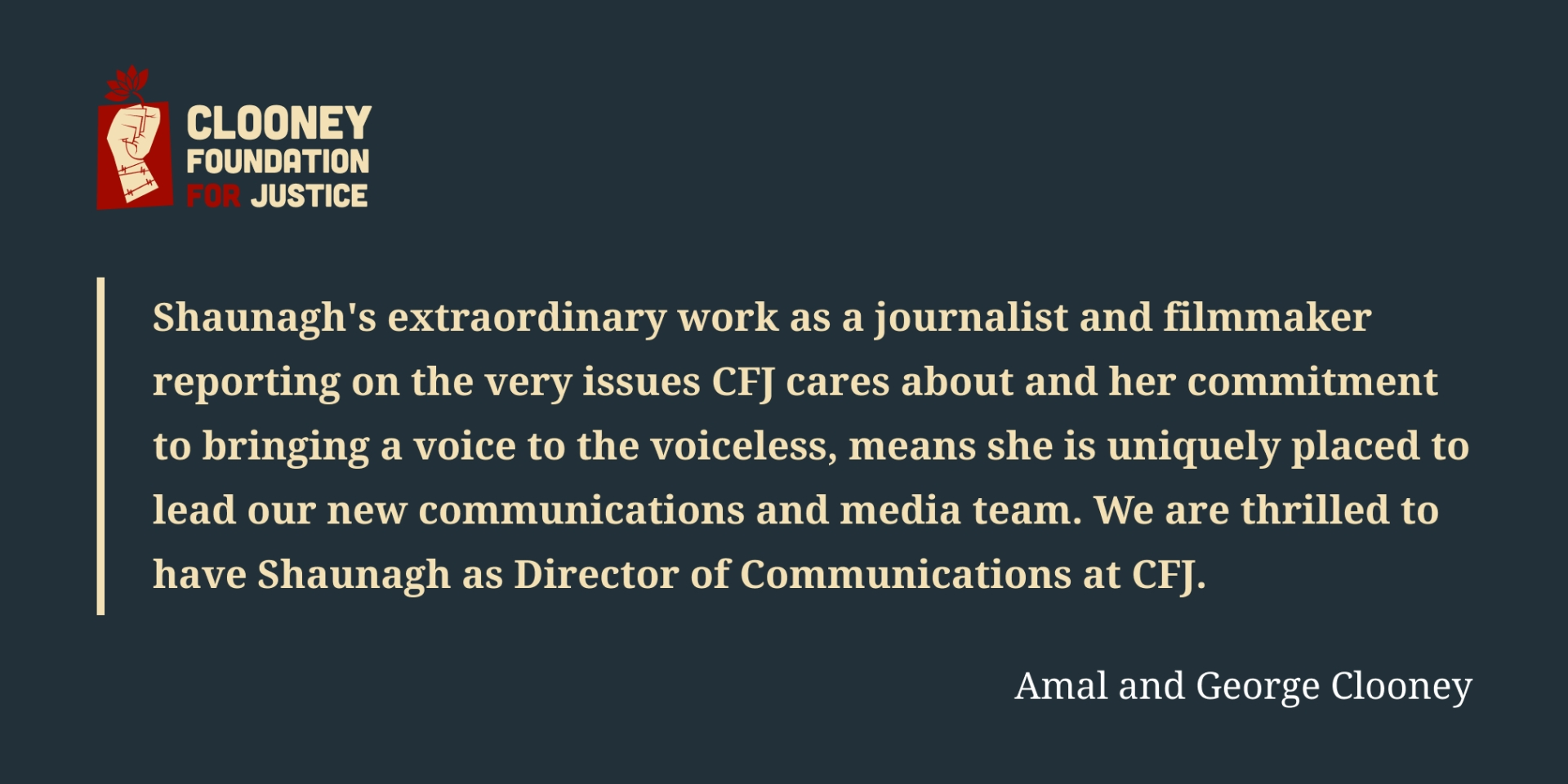 Huge appointment for Longford journalist as she links up with Amal and George Clooney and the Clooney Foundation for Justice 1624020107760